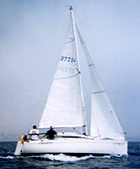 Jeff Burne off California coast on Pegasus, the only documented custom lead keel F235